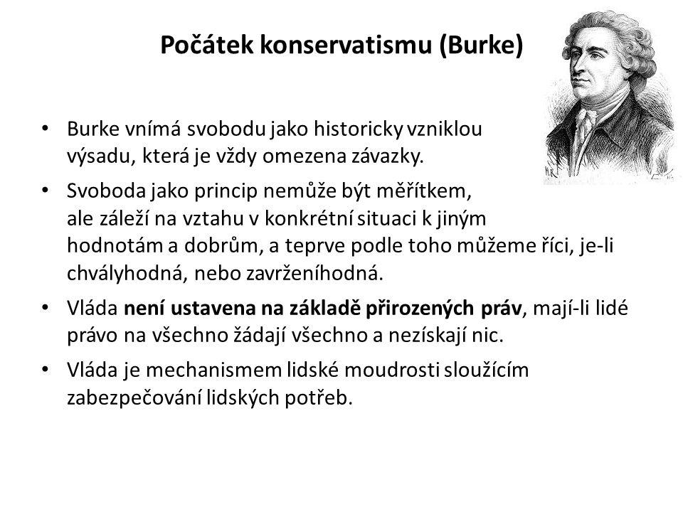 Počátek konservatismu (Burke) Burke vnímá svobodu jako historicky vzniklou výsadu, která je vždy omezena závazky.