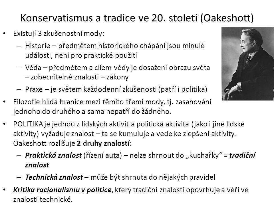 Konservatismus a tradice ve 20.