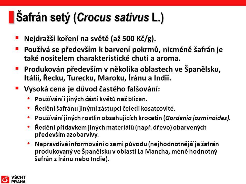 Šafrán setý ( Crocus sativus L.)  Nejdražší koření na světě (až 500 Kč/g).