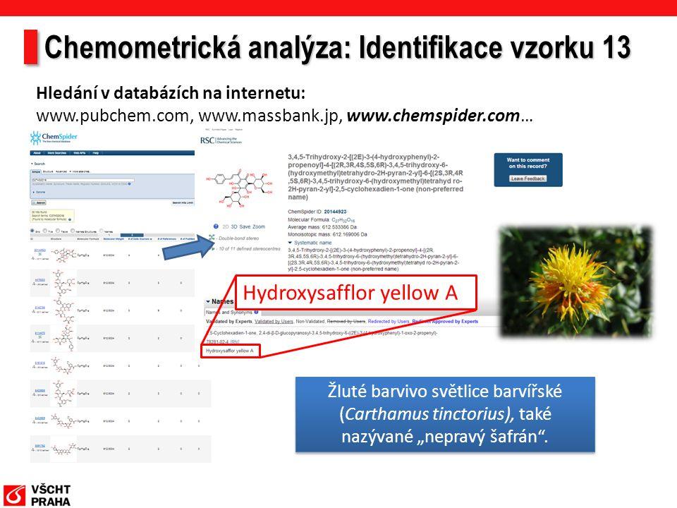"""Hledání v databázích na internetu: www.pubchem.com, www.massbank.jp, www.chemspider.com… Hydroxysafflor yellow A Žluté barvivo světlice barvířské (Carthamus tinctorius), také nazývané """"nepravý šafrán ."""