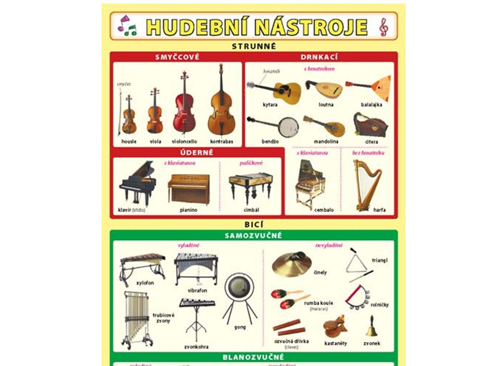 Hudební nástroje dechové Pojmenuj hudební nástroje, které poznáš.