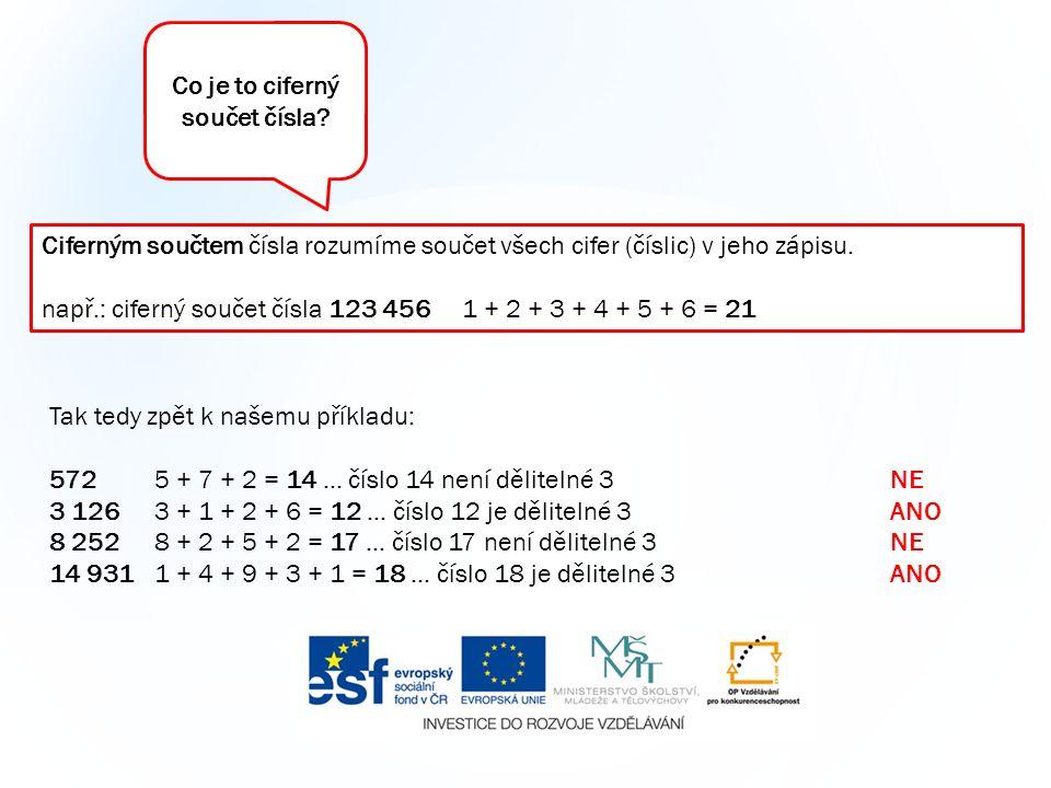 Tak tedy zpět k našemu příkladu: 5725 + 7 + 2 = 14 … číslo 14 není dělitelné 3NE 3 1263 + 1 + 2 + 6 = 12 … číslo 12 je dělitelné 3ANO 8 2528 + 2 + 5 + 2 = 17 … číslo 17 není dělitelné 3NE 14 931 1 + 4 + 9 + 3 + 1 = 18 … číslo 18 je dělitelné 3ANO Ciferným součtem čísla rozumíme součet všech cifer (číslic) v jeho zápisu.