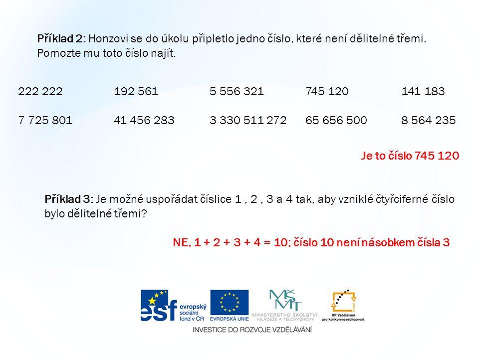 Příklad 2: Honzovi se do úkolu připletlo jedno číslo, které není dělitelné třemi.