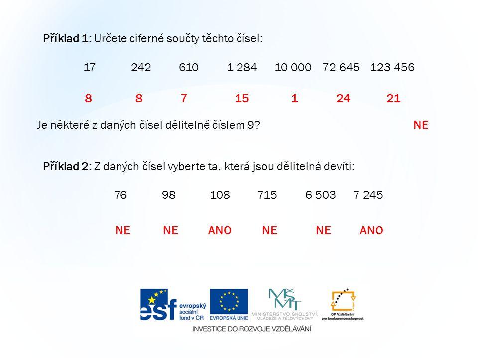 Příklad 1: Určete ciferné součty těchto čísel: 172426101 28410 00072 645123 456 8 87 15 1 24 21 Je některé z daných čísel dělitelné číslem 9 NE Příklad 2: Z daných čísel vyberte ta, která jsou dělitelná devíti: 76981087156 5037 245 NE NE ANO NE NE ANO