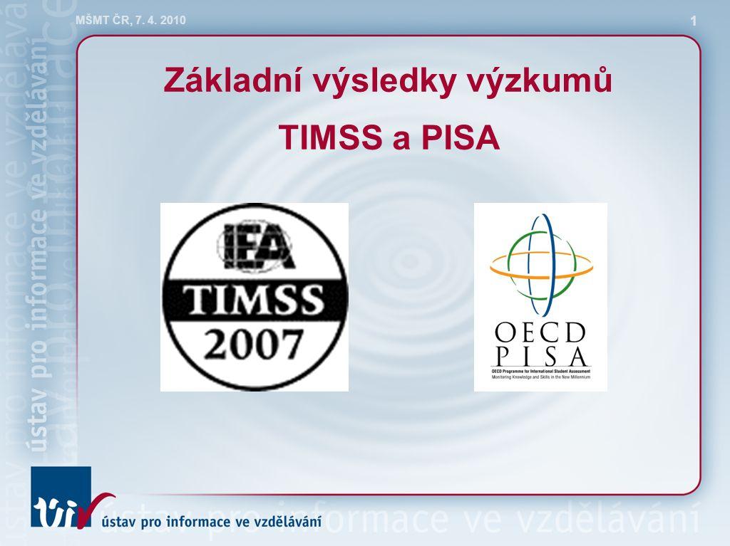 MŠMT ČR, 7. 4. 2010 1 Základní výsledky výzkumů TIMSS a PISA