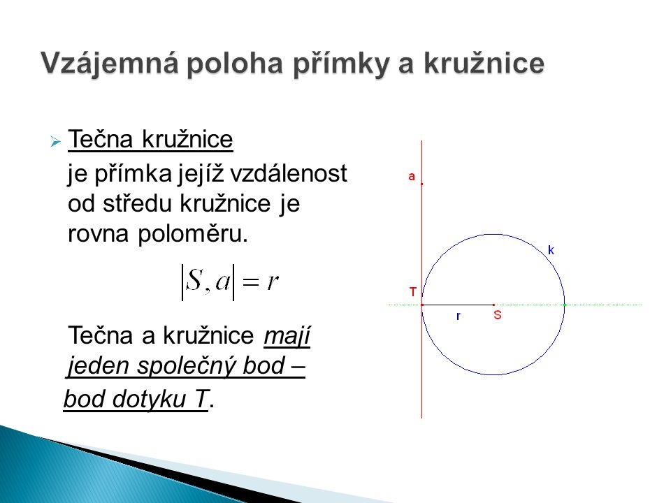  Tečna kružnice je přímka jejíž vzdálenost od středu kružnice je rovna poloměru.