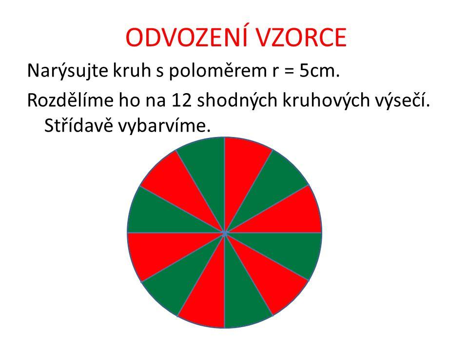 ODVOZENÍ VZORCE Narýsujte kruh s poloměrem r = 5cm. Rozdělíme ho na 12 shodných kruhových výsečí. Střídavě vybarvíme.