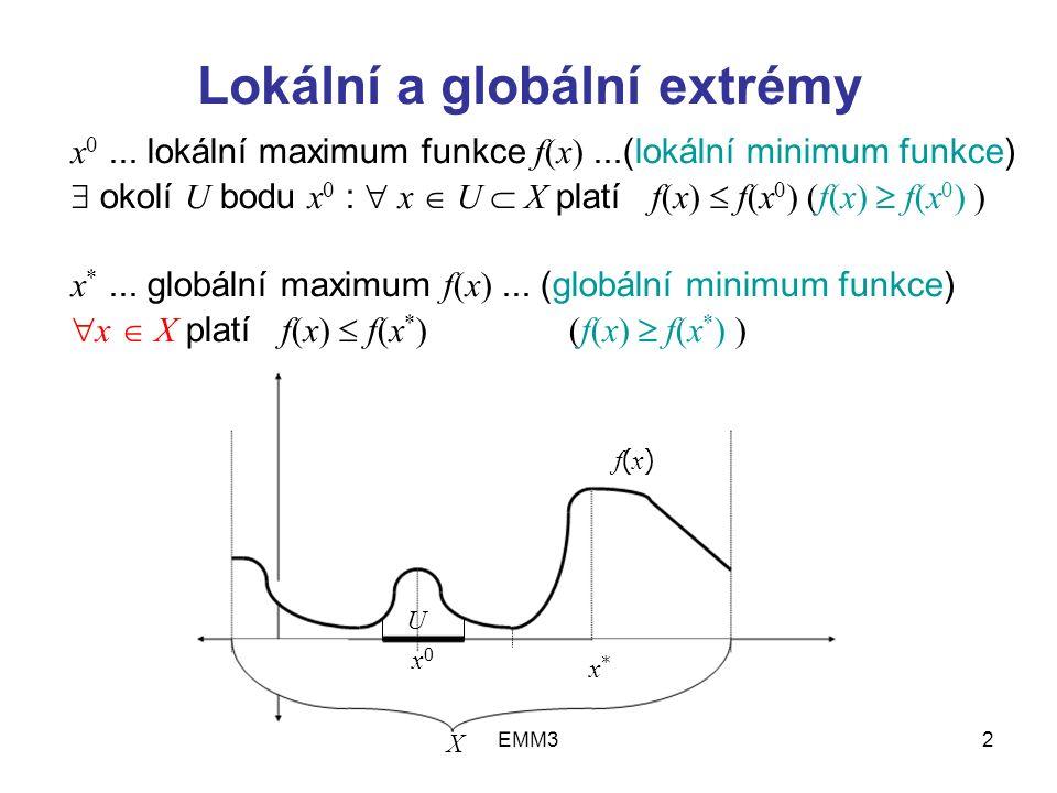 EMM32 Lokální a globální extrémy x 0... lokální maximum funkce f(x)...(lokální minimum funkce)  okolí U bodu x 0 :  x  U  X platí f(x)  f(x 0 ) (