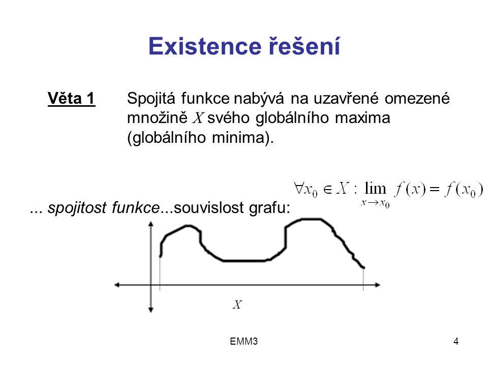 """EMM315 Existence řešení … Postačující podmínka existence lokálního minima funkce v R n Věta 3 """"n : (Sylvestrovo kritérium) Jestliže funkce f(x) má spojité všechny parciální derivace v okolí bodu x 0 =(x 1 0,…, x n 0 )  R n, gradient  f(x 0 ) = 0 a všechny hlavní subdeterminanty Hessiánu {  2 f(x 0 )} jsou kladné (tj."""