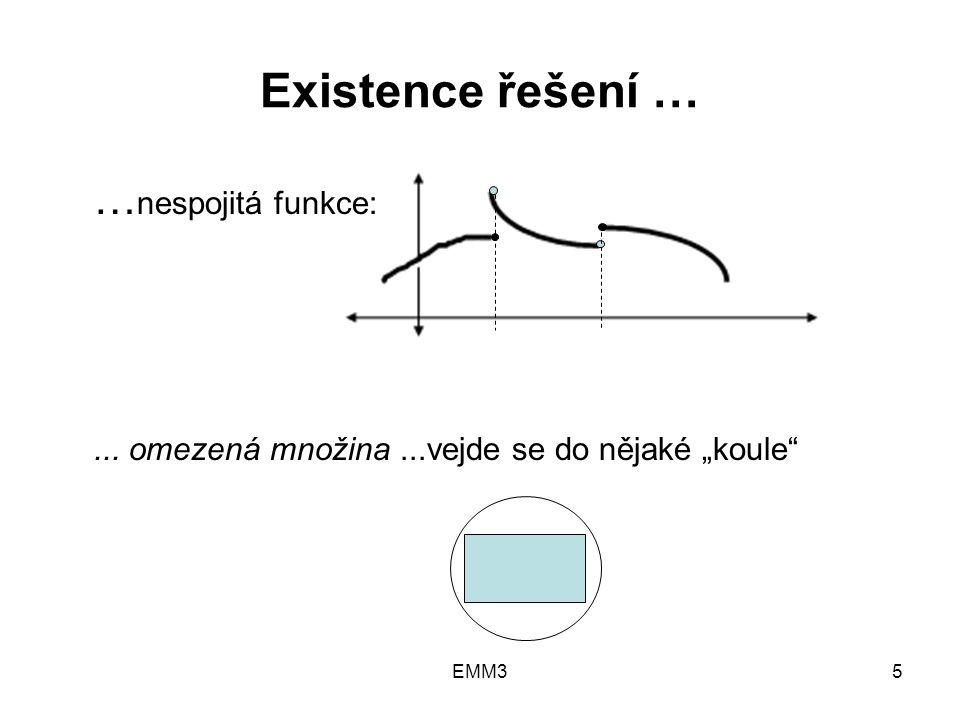 """EMM35 Existence řešení … … nespojitá funkce:... omezená množina...vejde se do nějaké """"koule"""""""