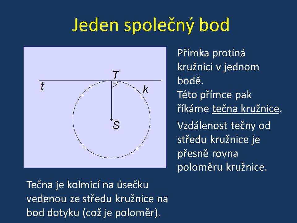 Dva společné body Přímka protíná kružnici ve dvou bodech Této přímce pak říkáme sečna kružnice.