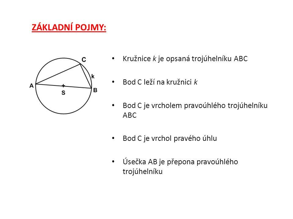 ZÁKLADNÍ POJMY: Kružnice k je opsaná trojúhelníku ABC Bod C leží na kružnici k Bod C je vrcholem pravoúhlého trojúhelníku ABC Bod C je vrchol pravého úhlu Úsečka AB je přepona pravoúhlého trojúhelníku