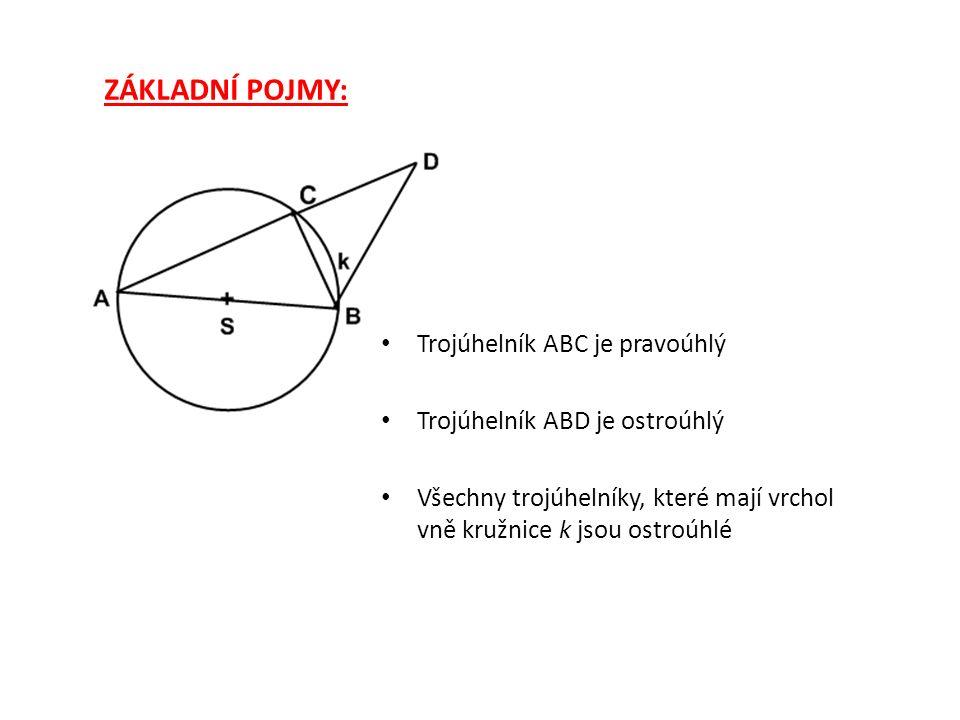 ZÁKLADNÍ POJMY: Trojúhelník ABC je pravoúhlý Trojúhelník ABE je tupoúhlý Všechny trojúhelníky, které mají vrchol uvnitř kružnice k jsou tupoúhlé