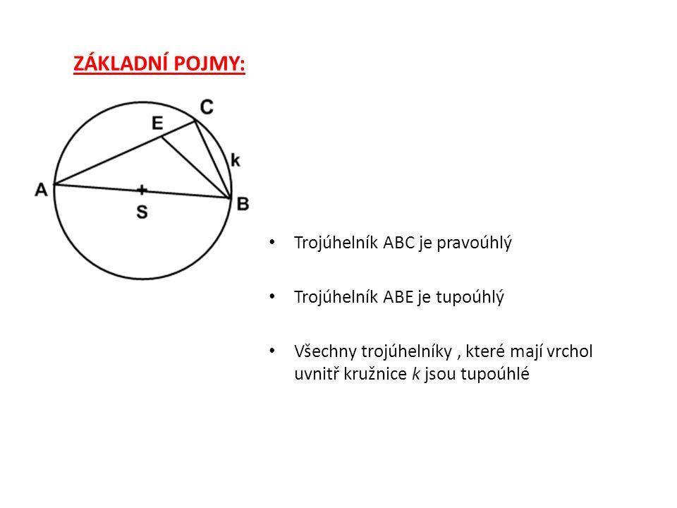 k THALETOVA VĚTA: Jestliže trojúhelník ABC je pravoúhlý s přeponou AB, pak vrchol C leží na kružnici k s průměrem AB.
