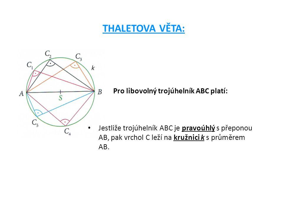 k OBRÁCENÁ THALETOVA VĚTA: Jestliže vrchol C trojúhelníku ABC leží na kružnici k s průměrem AB, pak trojúhelník ABC je pravoúhlý s přeponou AB a pravým úhlem při vrcholu C Kružnice k se nazývá Thaletova kružnice nad průměrem AB