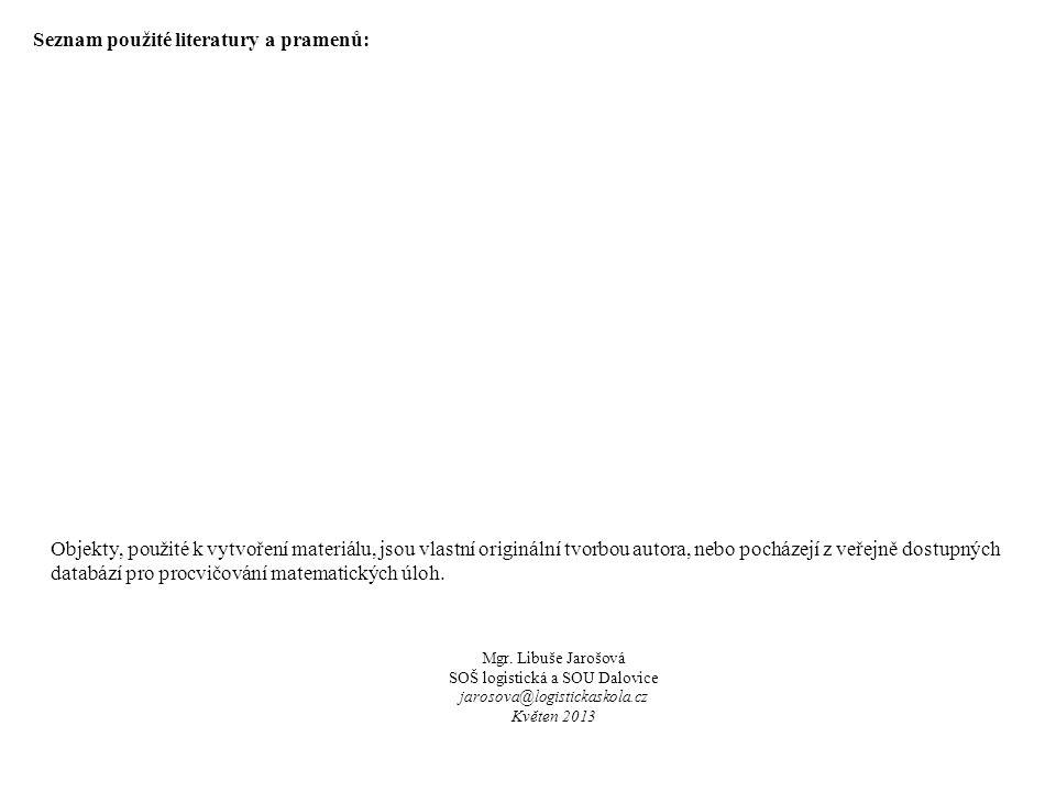 Mgr. Libuše Jarošová SOŠ logistická a SOU Dalovice jarosova@logistickaskola.cz Květen 2013 Objekty, použité k vytvoření materiálu, jsou vlastní origin