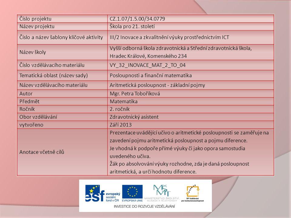 Číslo projektuCZ.1.07/1.5.00/34.0779 Název projektuŠkola pro 21.