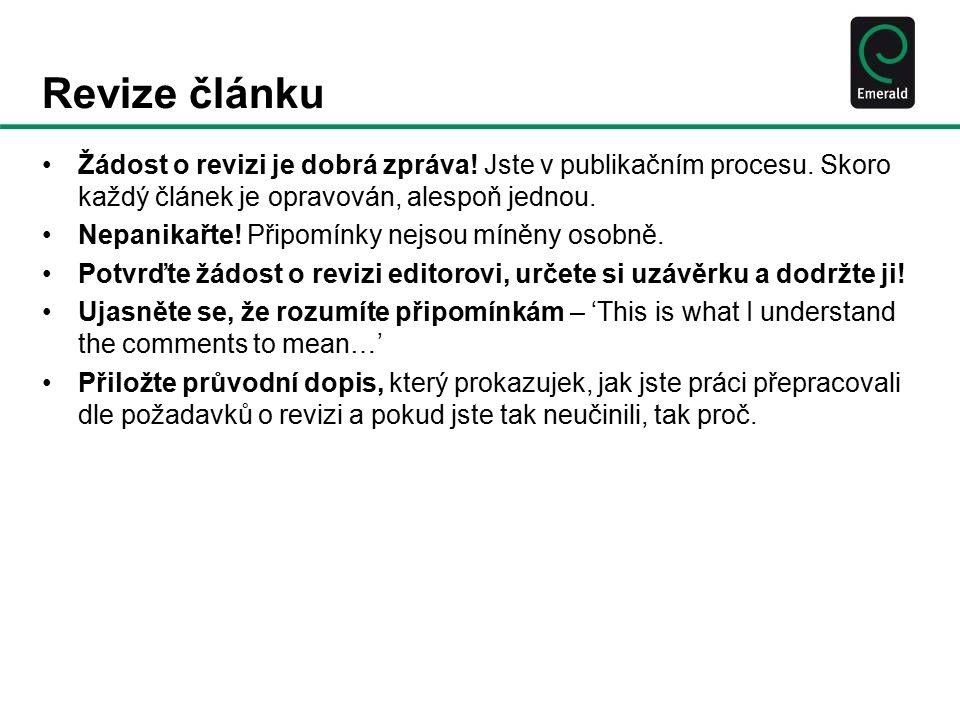 Revize článku Žádost o revizi je dobrá zpráva. Jste v publikačním procesu.