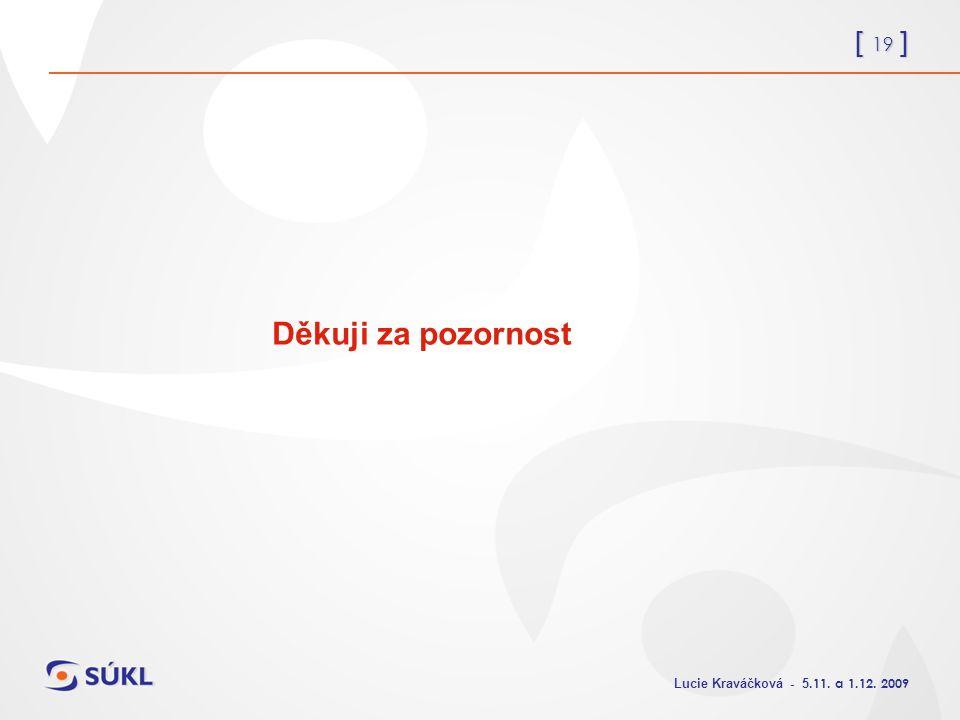 [ 19 ] Lucie Kraváčková - 5.11. a 1.12. 2009 Děkuji za pozornost