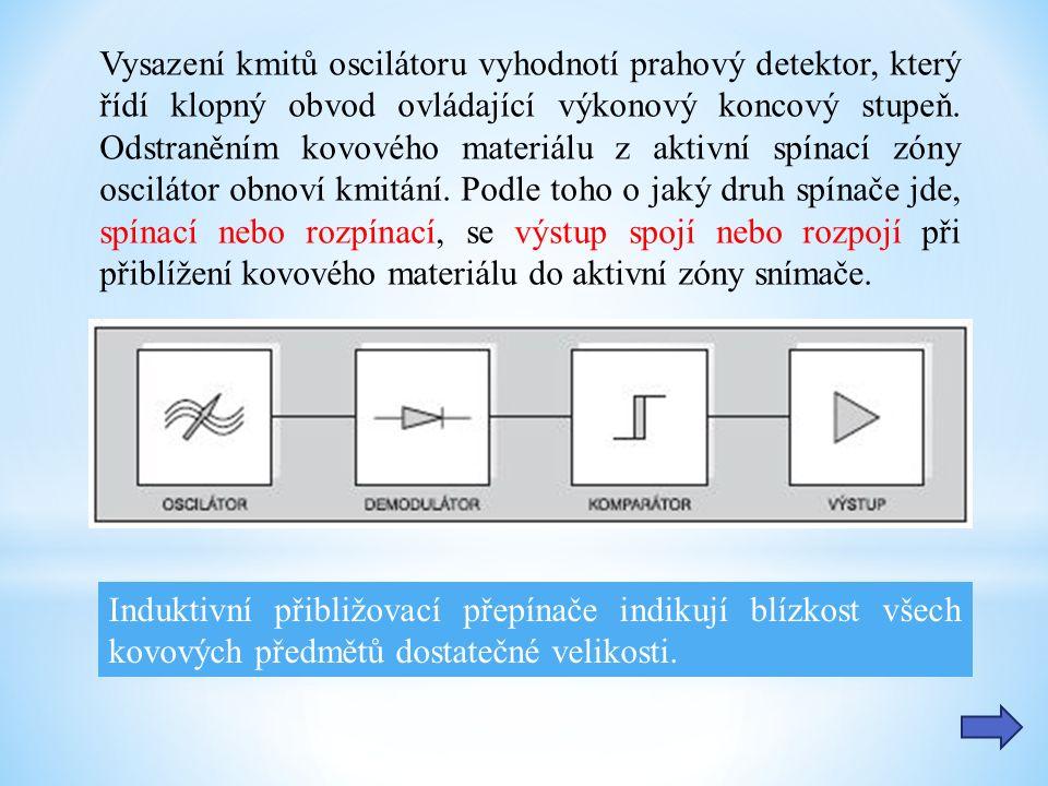 Induktivní přibližovací přepínače indikují blízkost všech kovových předmětů dostatečné velikosti. Vysazení kmitů oscilátoru vyhodnotí prahový detektor