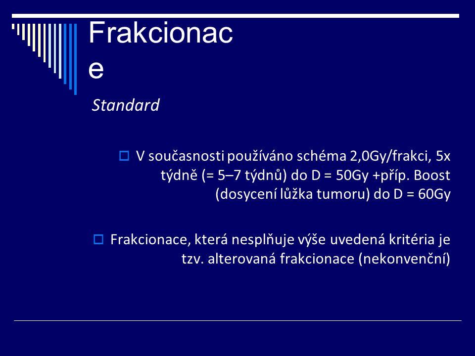 Frakcionac e Standard  V současnosti používáno schéma 2,0Gy/frakci, 5x týdně (= 5–7 týdnů) do D = 50Gy +příp.