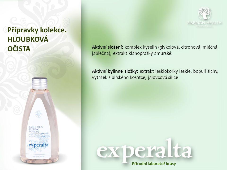 Аktivní složení: komplex kyselin (glykolová, citronová, mléčná, jablečná), extrakt klanoprašky amurské. Aktivní bylinné složky: extrakt lesklokorky le