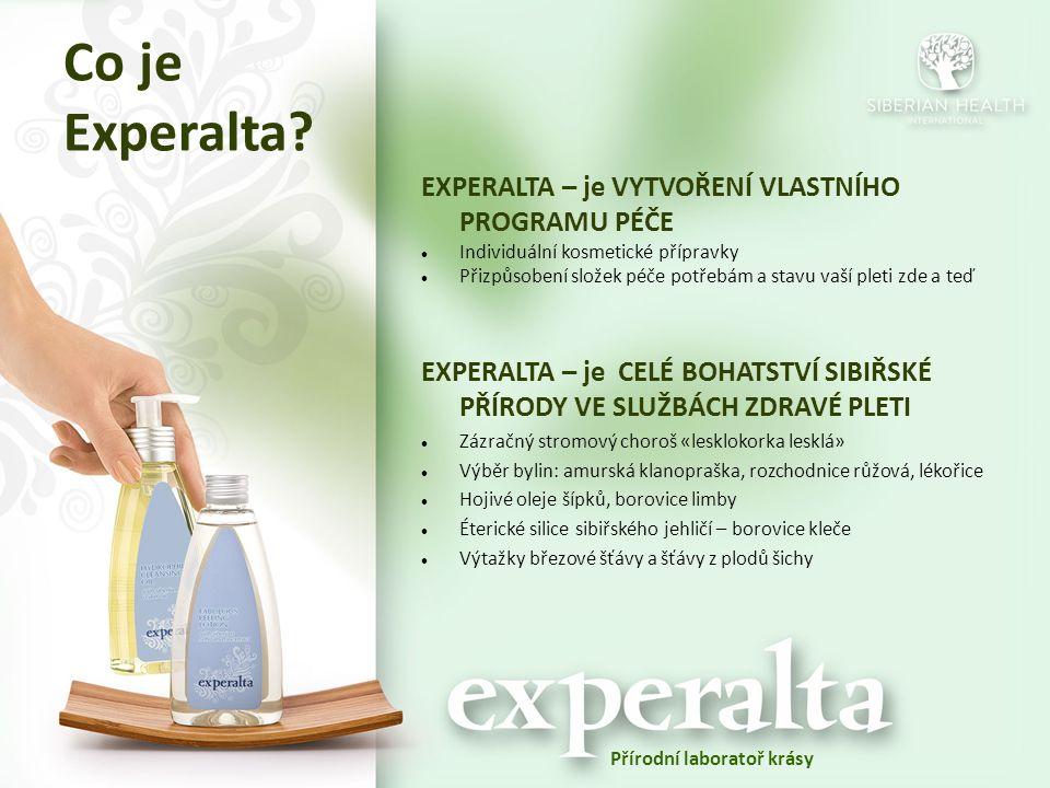 Co je Experalta? EXPERALTA – je VYTVOŘENÍ VLASTNÍHO PROGRAMU PÉČE Individuální kosmetické přípravky Přizpůsobení složek péče potřebám a stavu vaší ple