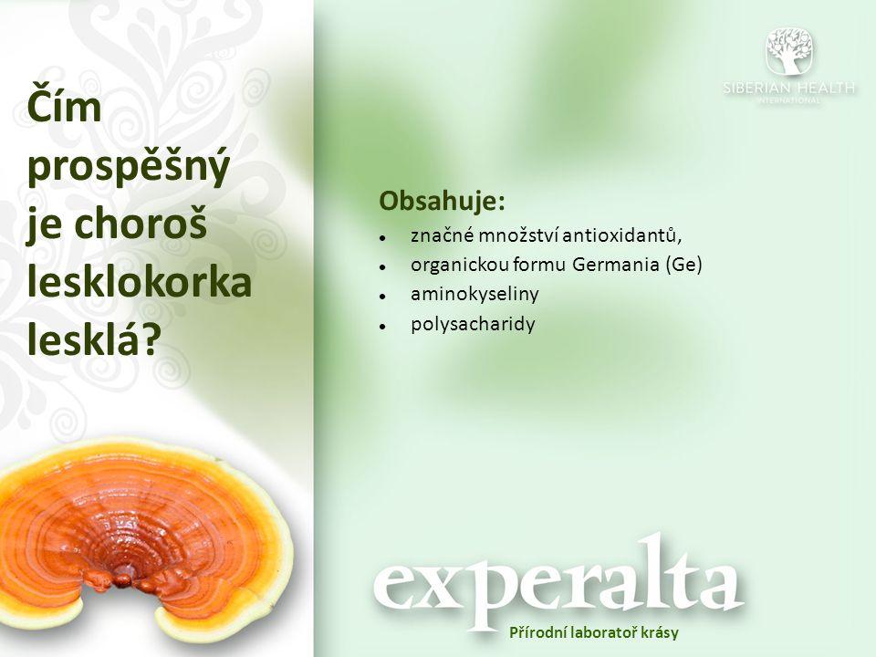 Čím prospěšný je choroš lesklokorka lesklá? Obsahuje: značné množství antioxidantů, organickou formu Germania (Ge) aminokyseliny polysacharidy Přírodn