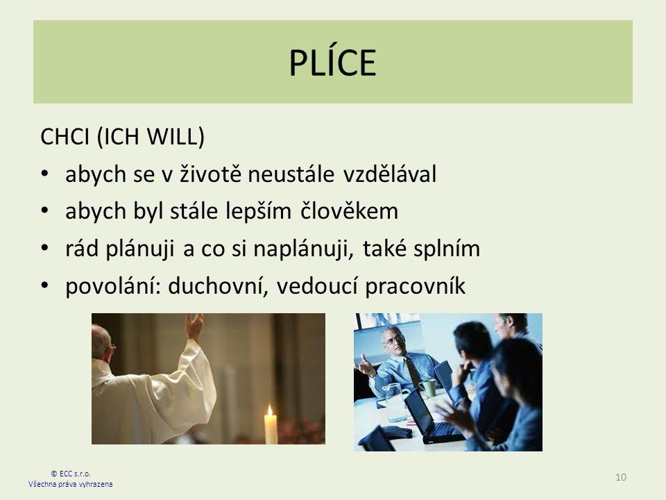 PLÍCE CHCI (ICH WILL) abych se v životě neustále vzdělával abych byl stále lepším člověkem rád plánuji a co si naplánuji, také splním povolání: duchovní, vedoucí pracovník 10 © ECC s.r.o.
