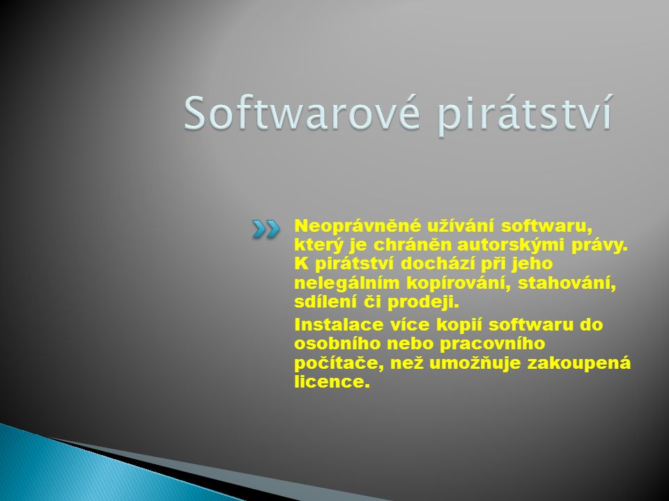Neoprávněné užívání softwaru, který je chráněn autorskými právy.
