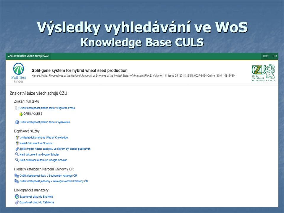 Výsledky vyhledávání ve WoS Knowledge Base CULS