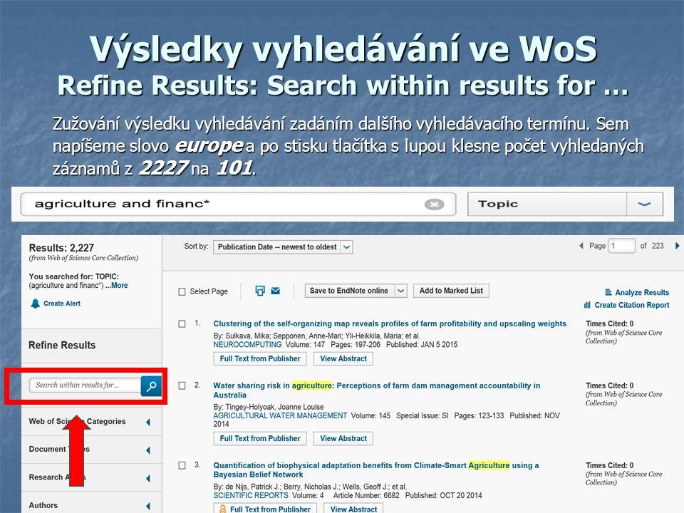 Výsledky vyhledávání ve WoS Refine Results: Search within results for … Zužování výsledku vyhledávání zadáním dalšího vyhledávacího termínu.