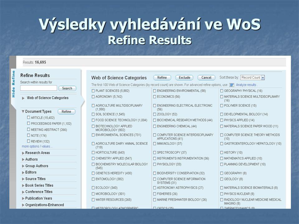 Výsledky vyhledávání ve WoS Refine Results