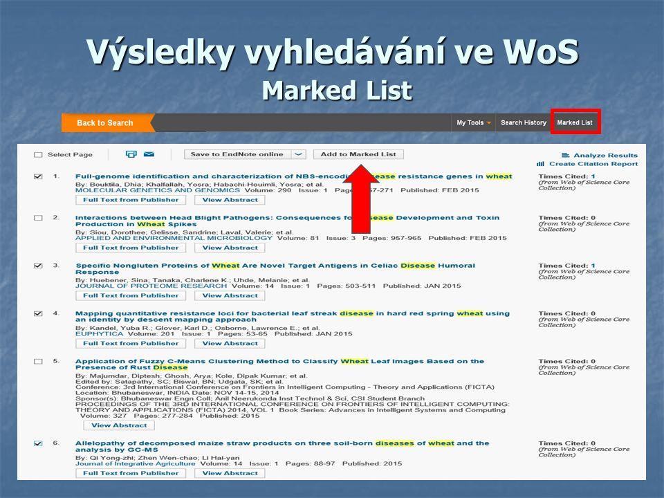 Výsledky vyhledávání ve WoS Marked List