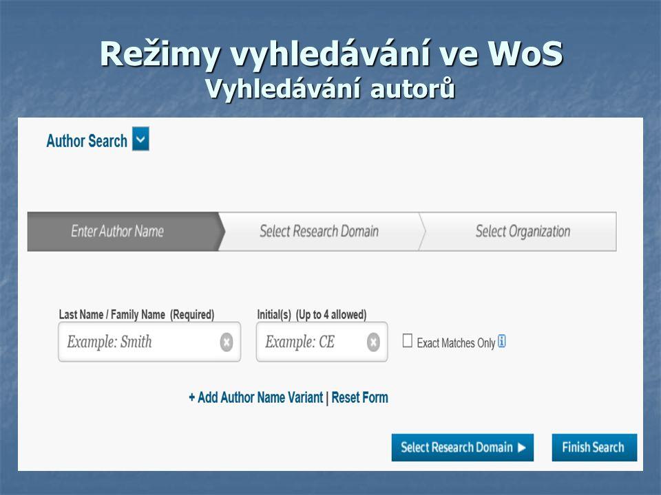 Režimy vyhledávání ve WoS Vyhledávání autorů