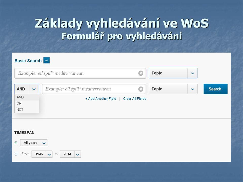 Základy vyhledávání ve WoS Vyhledávací termíny v textovém poli Vyhledávací termíny se zadávají v jakémkoliv pořadí.