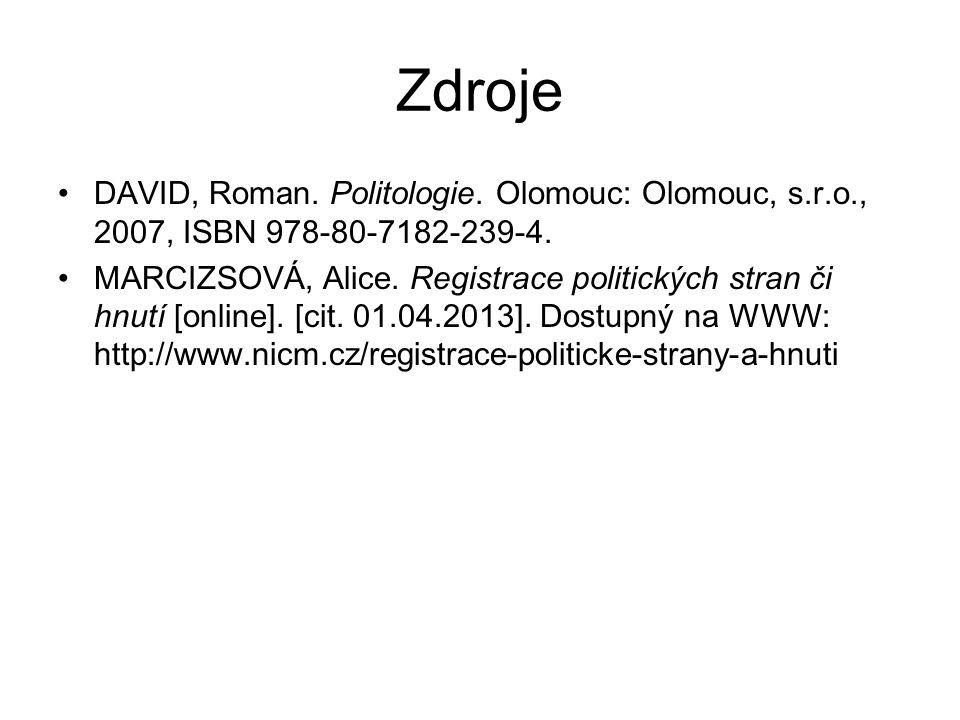 Zdroje DAVID, Roman. Politologie. Olomouc: Olomouc, s.r.o., 2007, ISBN 978-80-7182-239-4.