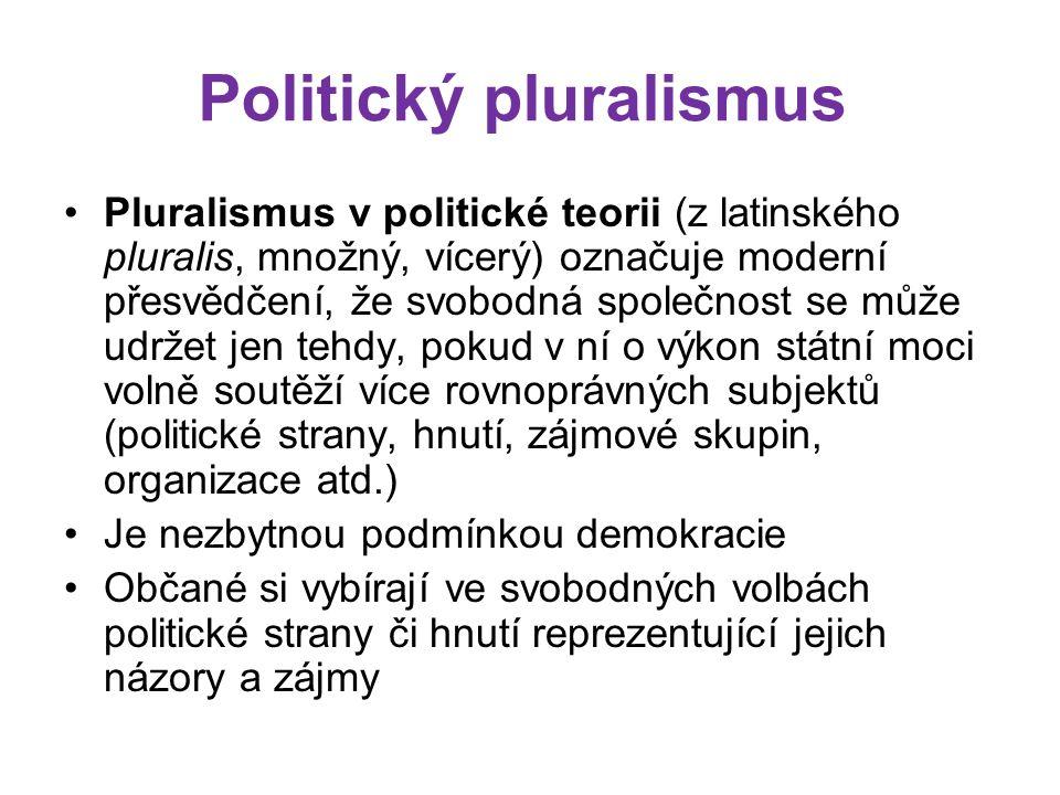 Politický pluralismus Pluralismus v politické teorii (z latinského pluralis, množný, vícerý) označuje moderní přesvědčení, že svobodná společnost se může udržet jen tehdy, pokud v ní o výkon státní moci volně soutěží více rovnoprávných subjektů (politické strany, hnutí, zájmové skupin, organizace atd.) Je nezbytnou podmínkou demokracie Občané si vybírají ve svobodných volbách politické strany či hnutí reprezentující jejich názory a zájmy