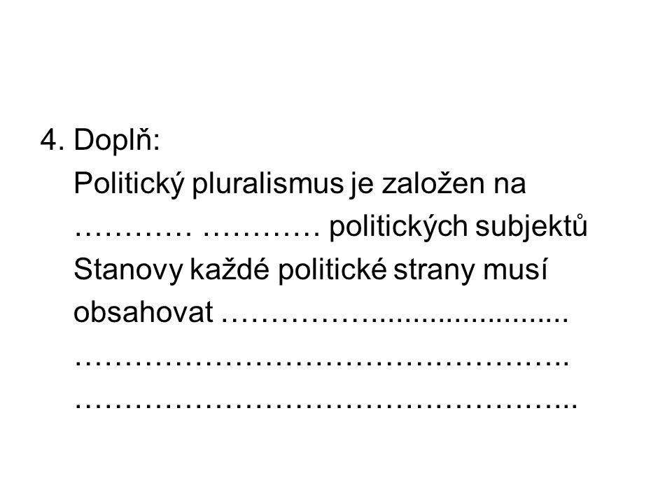 4. Doplň: Politický pluralismus je založen na ………… ………… politických subjektů Stanovy každé politické strany musí obsahovat ……………......................
