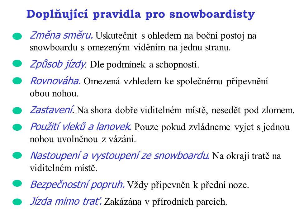 Doplňující pravidla pro snowboardisty Změna směru. Uskutečnit s ohledem na boční postoj na snowboardu s omezeným viděním na jednu stranu. Způsob jízdy