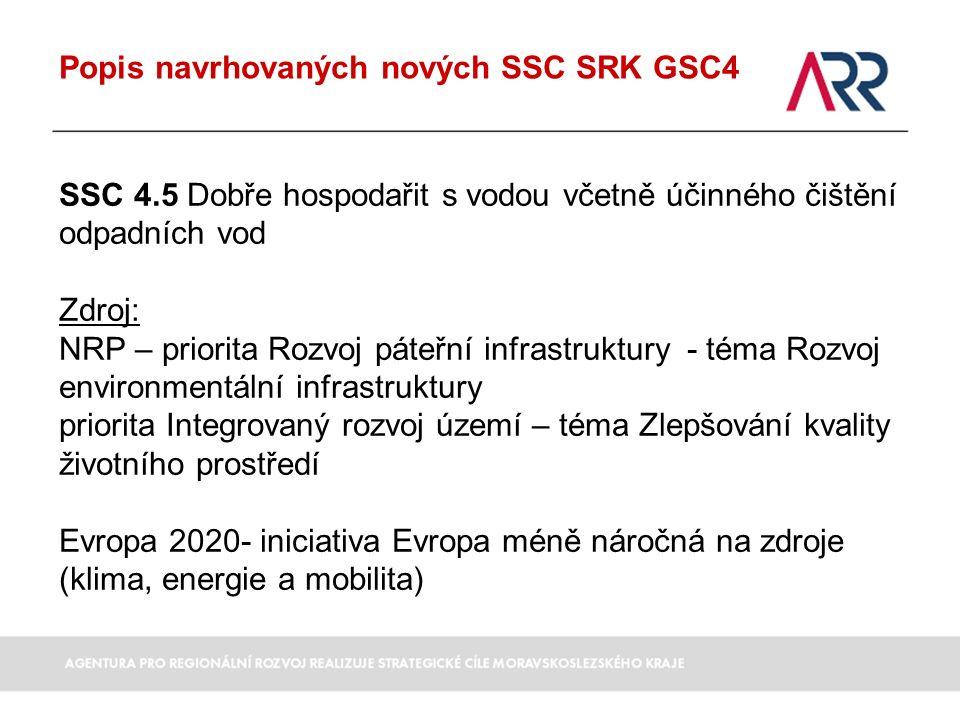 Popis navrhovaných nových SSC SRK GSC4 SSC 4.5 Dobře hospodařit s vodou včetně účinného čištění odpadních vod Zdroj: NRP – priorita Rozvoj páteřní infrastruktury - téma Rozvoj environmentální infrastruktury priorita Integrovaný rozvoj území – téma Zlepšování kvality životního prostředí Evropa 2020- iniciativa Evropa méně náročná na zdroje (klima, energie a mobilita)