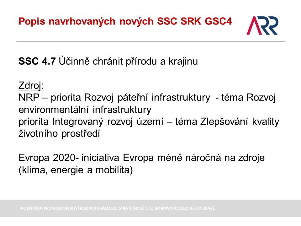 Popis navrhovaných nových SSC SRK GSC4 SSC 4.7 Účinně chránit přírodu a krajinu Zdroj: NRP – priorita Rozvoj páteřní infrastruktury - téma Rozvoj environmentální infrastruktury priorita Integrovaný rozvoj území – téma Zlepšování kvality životního prostředí Evropa 2020- iniciativa Evropa méně náročná na zdroje (klima, energie a mobilita)
