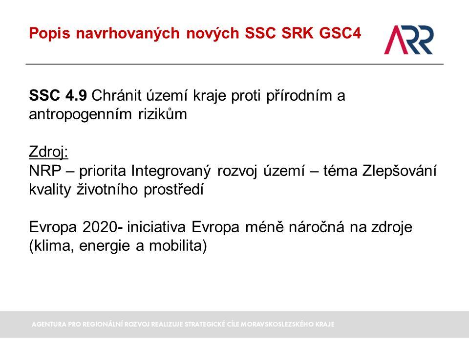 Popis navrhovaných nových SSC SRK GSC4 SSC 4.9 Chránit území kraje proti přírodním a antropogenním rizikům Zdroj: NRP – priorita Integrovaný rozvoj území – téma Zlepšování kvality životního prostředí Evropa 2020- iniciativa Evropa méně náročná na zdroje (klima, energie a mobilita)