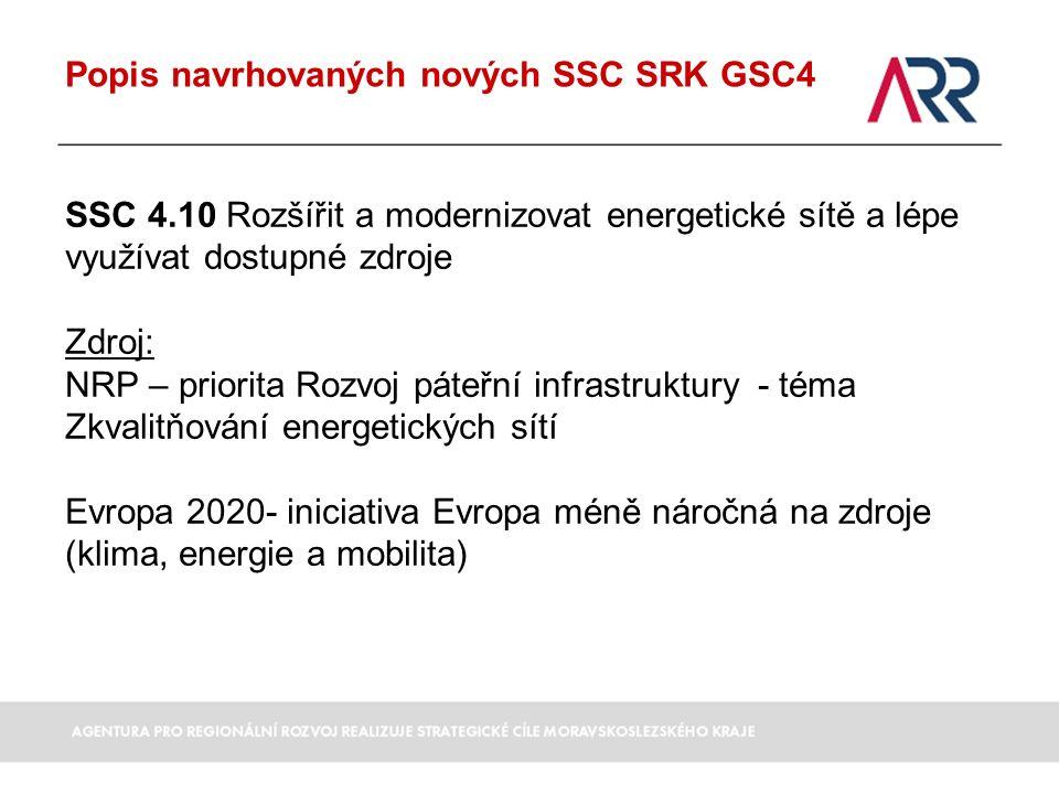 Popis navrhovaných nových SSC SRK GSC4 SSC 4.10 Rozšířit a modernizovat energetické sítě a lépe využívat dostupné zdroje Zdroj: NRP – priorita Rozvoj páteřní infrastruktury - téma Zkvalitňování energetických sítí Evropa 2020- iniciativa Evropa méně náročná na zdroje (klima, energie a mobilita)