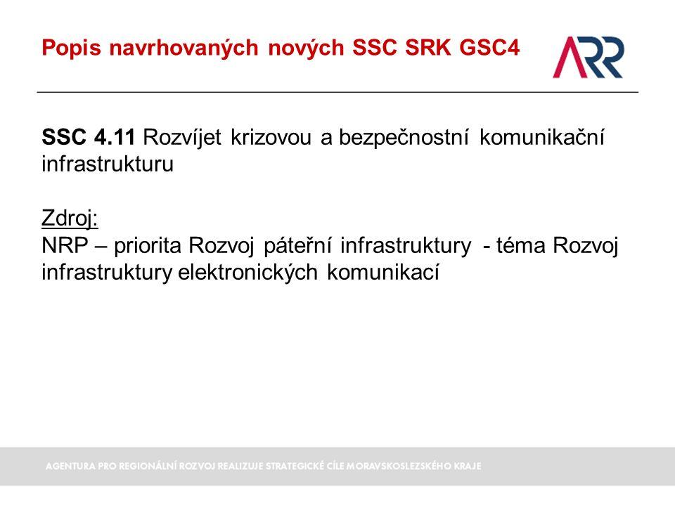 Popis navrhovaných nových SSC SRK GSC4 SSC 4.11 Rozvíjet krizovou a bezpečnostní komunikační infrastrukturu Zdroj: NRP – priorita Rozvoj páteřní infrastruktury - téma Rozvoj infrastruktury elektronických komunikací