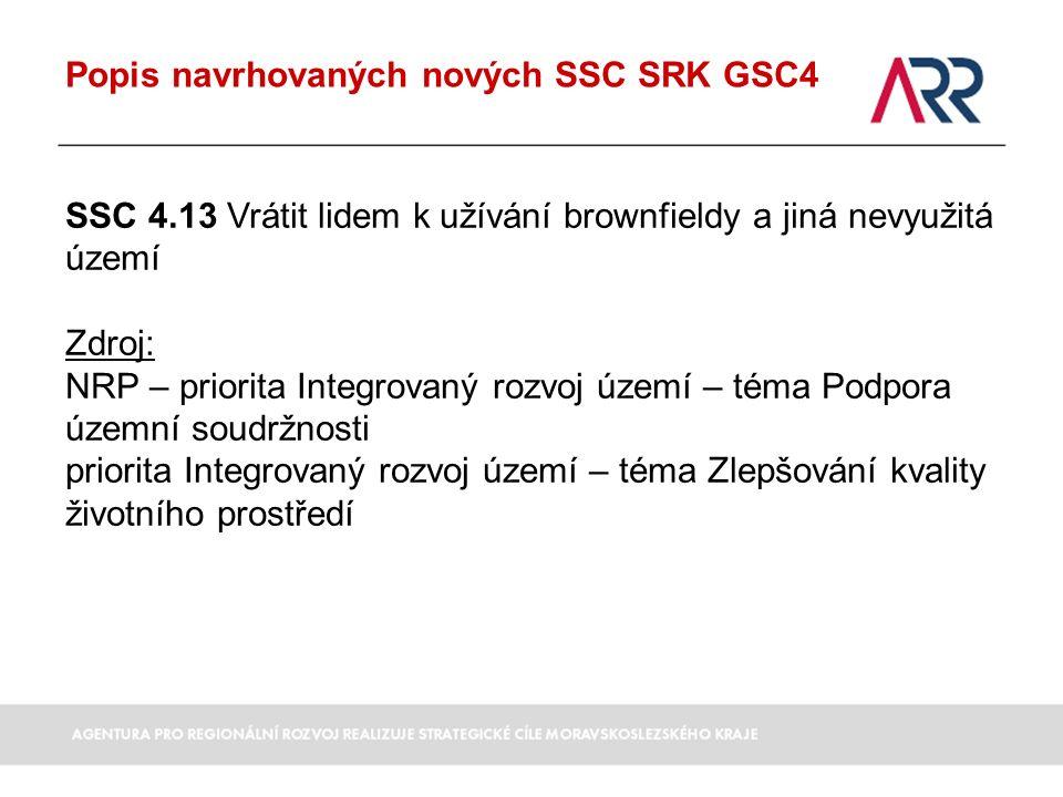 Popis navrhovaných nových SSC SRK GSC4 SSC 4.13 Vrátit lidem k užívání brownfieldy a jiná nevyužitá území Zdroj: NRP – priorita Integrovaný rozvoj území – téma Podpora územní soudržnosti priorita Integrovaný rozvoj území – téma Zlepšování kvality životního prostředí