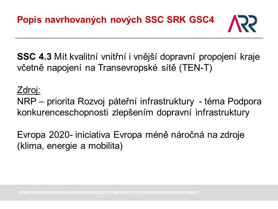Popis navrhovaných nových SSC SRK GSC4 SSC 4.3 Mít kvalitní vnitřní i vnější dopravní propojení kraje včetně napojení na Transevropské sítě (TEN-T) Zdroj: NRP – priorita Rozvoj páteřní infrastruktury - téma Podpora konkurenceschopnosti zlepšením dopravní infrastruktury Evropa 2020- iniciativa Evropa méně náročná na zdroje (klima, energie a mobilita)
