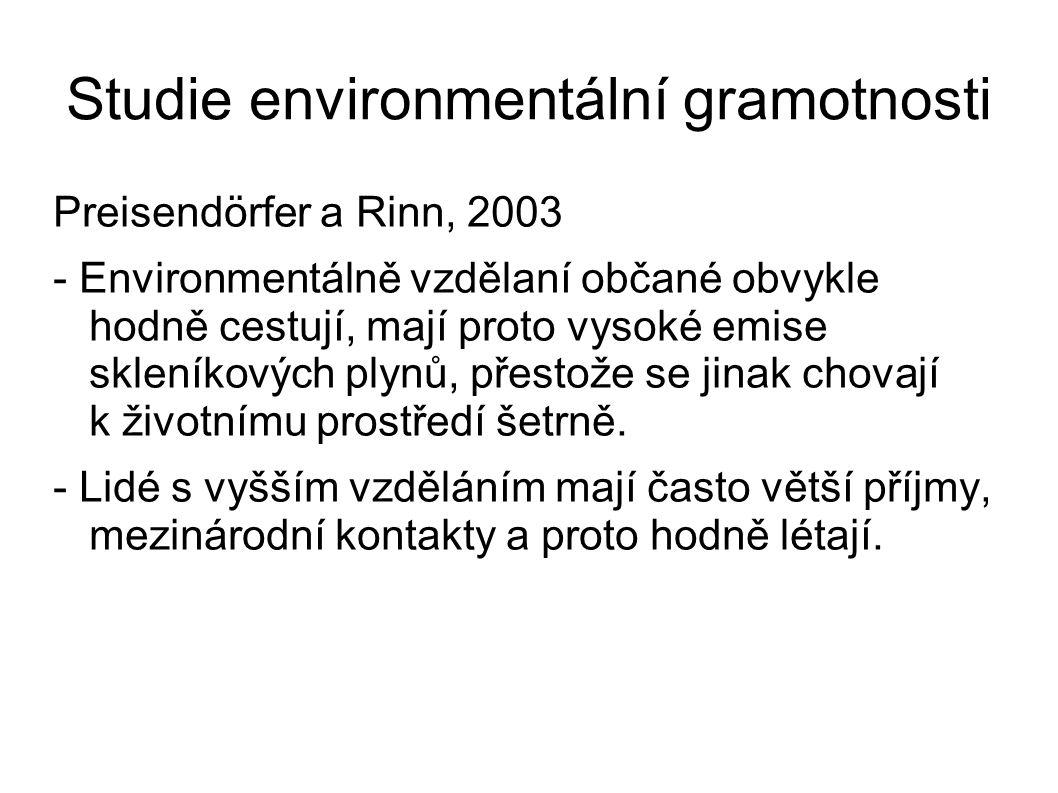 Studie environmentální gramotnosti Preisendörfer a Rinn, 2003 - Environmentálně vzdělaní občané obvykle hodně cestují, mají proto vysoké emise skleníkových plynů, přestože se jinak chovají k životnímu prostředí šetrně.