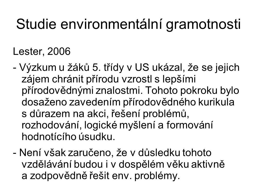 Studie environmentální gramotnosti Lester, 2006 - Výzkum u žáků 5.