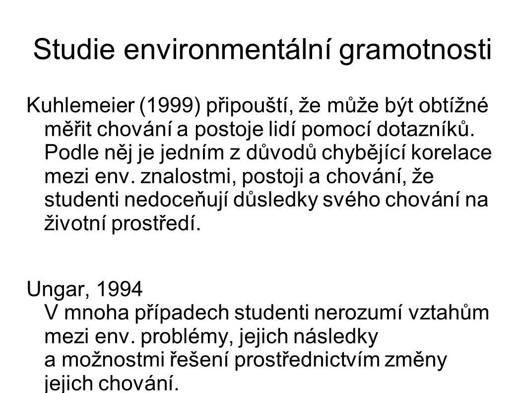 Studie environmentální gramotnosti Kuhlemeier (1999) připouští, že může být obtížné měřit chování a postoje lidí pomocí dotazníků.